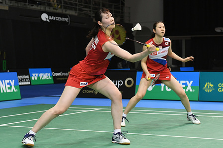 Mayu Matsumoto and Wakana Nagahara (Japan) seen in action during the 2019 Australian Badminton Open Women's Double Quarter Finals match against Apriyani Rahayu and Greysia Polii (Indonesia).  Matsumoto and Nagahara lost the match 19-21, 18-21.