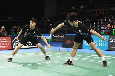 Choi Sol Gyu and Seo Seung Jae (Korea) seen in action during the 2019 Australian Badminton Open Men's Doubles Quarter Finals match against Han Chengkai and Zhou Haodong (China).  Choi and Seo won the match 19-21, 21-16, 23-21.