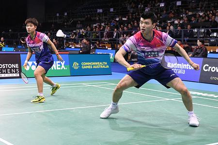 Wang Yilyu and Huang Dongping (China) seen in action during the 2019 Australian Badminton Open Mixed Doubles Semi-finals match against Tang Chun Man and Tse Ying Suet (Hong Kong).  Wang and Huang won the match 21-13, 21-10.