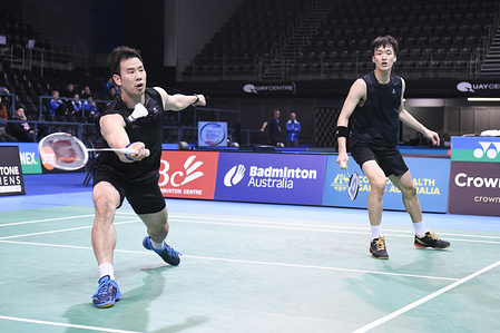 Ko Sung Hyun and Shin Baek Cheol (Korea) seen in action during the 2019 Australian Badminton Open Men's Doubles Semi-finals match against Li Junhui and Liu Yuchen (China).  Ko and Shin won the match 21-11, 14-21, 21-17.