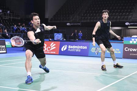 Ko Sung Hyun and Shin Baek Cheol (Korea) seen in action during the 2019 Australian Badminton Open Men's Doubles Semi-finals match against Li Junhui and Liu Yuchen (China).  Ko and Shin won the match 21-11, 14-21, 21-17.