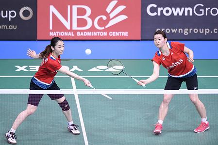 Misaki Matsutomo and Ayaka Takahashi (Japan) seen in action during the 2019 Australian Badminton Open Women's Doubles Semi-finals match against Sayaka Hirota and Yuki Fukushima (Japan).   Matsumoto and Takahashi lost the match 21-15, 15-21, 21-23.