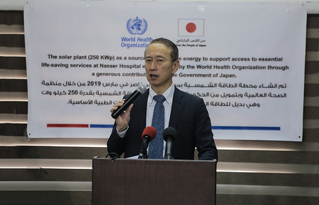 Ambassador for Palestinian Affairs and Representative of Japan to Palestine Takeshi Okubo speaks during the opening ceremony of a Solar Energy Project funded by the Japanese government at Nasser Medical Complex in khan Younis, Gaza.