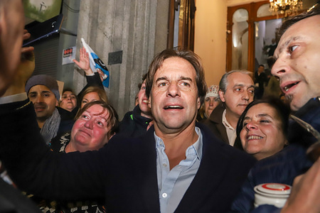 Luis Lacalle Pou seen with his supporters during his first speech as a candidate for the presidency of Uruguay. Lacalle Pou won the primary election for the National Party with 53.8% of the vote.
