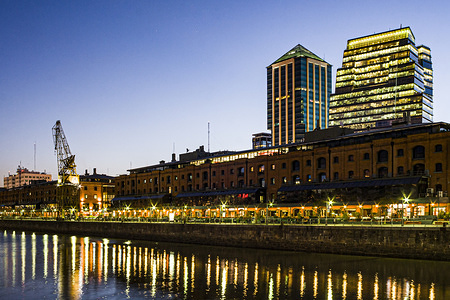 A view of Puerto Madero in the evening in Buenos Aires.