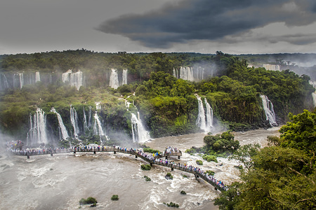View of the Iguaçu Falls, one of the world's greatest natural wonders, on the border of Brazil and Argentina.