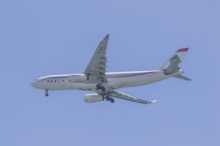 The Lebanese flight carrier Middle East Airlines landing at Beirut.