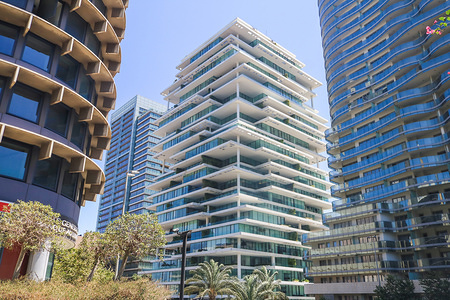 Beirut Terraces with modern multilayered 119-metre tall building by Herzog & de Meuron in the central business district.