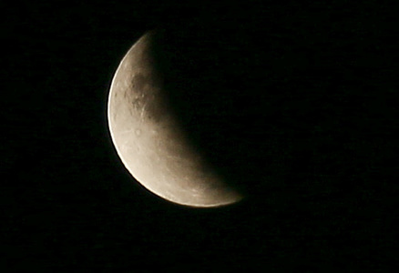 The moon seen during the Partial Lunar eclipse.