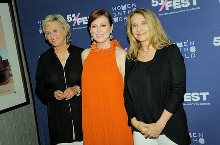 (L to R) Tina Brown, Julianne Moore and Anne Hubbell attend the 51Fest photo call in New York. The New York Premiere of 'After The Wedding'.