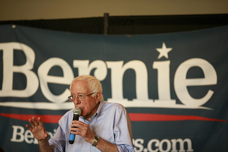 Senator Bernie Sanders, who is running for the Democratic nomination for President of the United States, speaks to supporters during a Seniors Issues Round table at The Gathering Room.