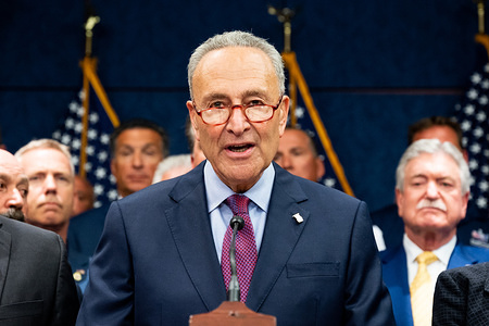 U.S. Senator Chuck Schumer (D-NY) speaking at the press conference held after the passage of H.R.1327 - Never Forget the Heroes: James Zadroga, Ray Pfeifer, and Luis Alvarez Permanent Authorization of the September 11th Victim Compensation Fund Act at the Capitol in Washington, DC on July 23, 2019.
