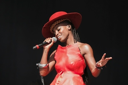 Skye Edwards (Shirley Klaris Yonavieve Edwards), female lead singer from British electronic band Morcheeba performing live on stage at UK family music and arts festival Camp Bestival in  Lulworth, Dorset.