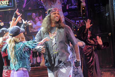 """Major League Baseball player CC Sabathia attends the special 'Rock of Ages' - """"Yankees Night"""" curtain call in New York.  CC Sabathia made his stage debut in a one-night-only cameo."""