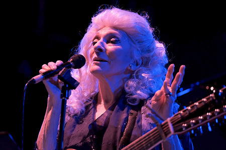 Grammy Award winning American singer songwriter of folk, blues, pop, and rock, Judith Marjorie Collins popularly known as Judy Collins performs live at Wickham festival in Hampshire.
