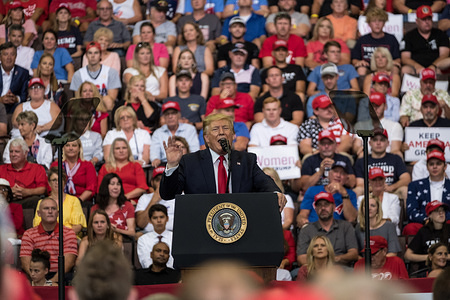 Donald Trump speaks during the rally. President Trump and Vice President Mike Pence held a rally at the US Bank Arena in Cincinnati, Ohio.
