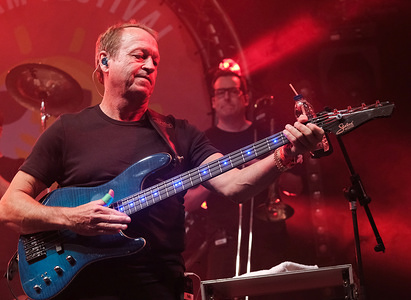 Mark Raymond King, bassist and lead singer with English jazz funk band Level 42, who had a number of worldwide hits in the 1980s and 1990s, performs on stage during day 2 at Wickham Festival in Hampshire.
