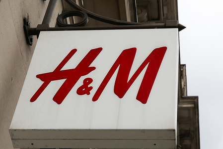 H&M sign in central London.