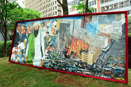 A painting of the August 7th 1998 bomb blast scene is seen displayed at the August 7th Memorial Park. The park sits at the scene of 1998 US Embassy bombing that left 213 people dead. As the victims of this terror attack mark 21st commemoration, they feel neglected and are still asking for compensation.