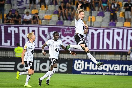 Alexander Soderlund of Rosenborg celebrates first goal of his team during the 1st Leg Football match between NK Maribor (SLO) and Rosenborg BK (NOR) in Third qualifying round of UEFA Champions League. Final Score: NK Maribor 1-3 Rosenborg BK