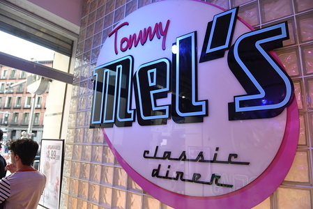 The Tommy Mel's logo seen at a Tommy Mel's restaurant on Gran Via Street in  Madrid.