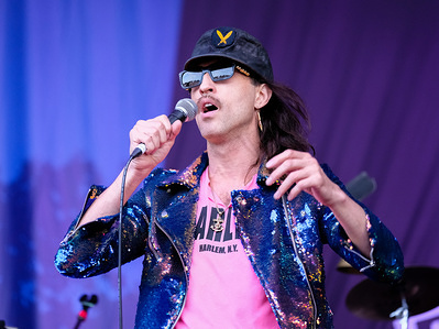 Ukrainian Eugene Hutz with New York American Gypsy punk band Gogol Bordello performs live on stage at Fairport Convention's 40th anniversary Cropredy festival in Banbury, Oxfordshire.