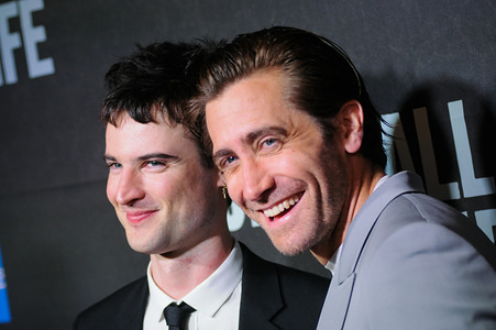 """Tom Sturridge (L) and Jake Gyllenhaal attend the """"Sea Wall / A Life"""" Broadway Opening Night at the Hudson Theater in New York."""