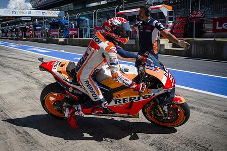 Repsol Honda Team's Spanish rider Marc Marquez leaves the pit lane during the second practice session of the Austrian MotoGP Grand Prix.