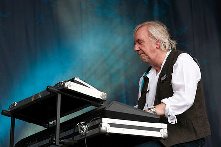 Keyboard player Jan Russell Schelhaas with English progressive and psychedelic  rock band Caravan  performs live on stage at Cropredy Festival in Banbury.