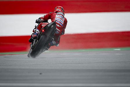 Ducati Team's Italian rider Andrea Dovizioso competes during the warm up session prior of the Austrian MotoGP Grand Prix race.