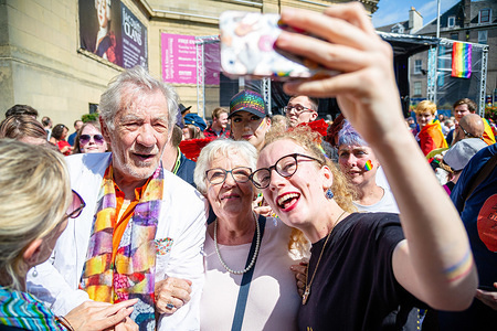 English actor Ian McKellen takes selfies with fans at the Perthshire Pride.  Perth plays host to the event Perthshire Pride, an annual event for the LGBT+ community to stand against hatred and other social problems they face.