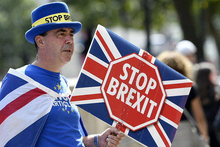 Steve Bray holds a placard that says stop brexit outside the Cabinet Office in London during the demonstration. Protesters gathered outside the Cabinet Office to demand for a revoke article 50 and to stop Brexit.