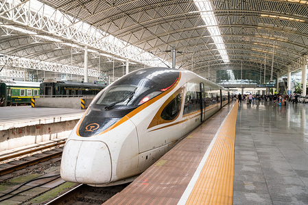 A Fuxing high speed train operated by China Railway Corporation seen at the Shanghai Railway Station.