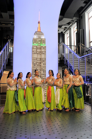 Dancers from the Aum Dance School attend the Empire State Building lighting ceremony in New York City. India Day was celebrated at the Empire State Building in New York with a special lighting ceremony attended by the actor Suniel Shetty and with a performance by dancers from the Aum Dance School.