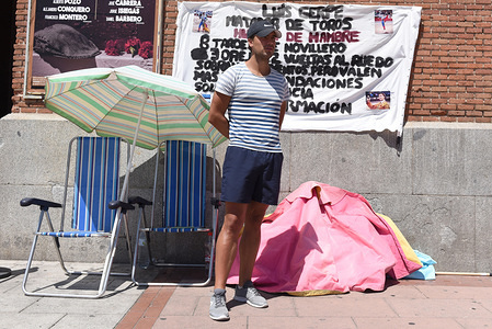 Spanish matador Luis Gerpe is seen posing for a photo during the protest.