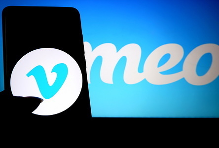 In this photo illustration a popular video sharing application Vimeo logo seen displayed on a smartphone.
