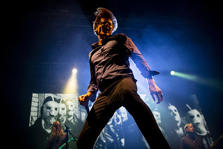 Brett Anderson from the English rock band, Suede performs live on stage at the Vodafone Paredes de Coura music festival.