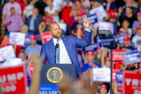 Trump Campaign Manager Brad Parscale speaks during the MAGA Rally in New Hampshire.
