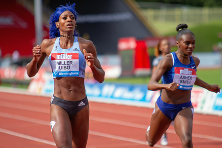 Shaunae Miller-Uibo of The Bahamas wins the women's 200 metres, with Dina Asher-Smith of Great Britain coming second, during the Birmingham 2019 Müller Grand Prix, at the Alexander Stadium, Birmingham.