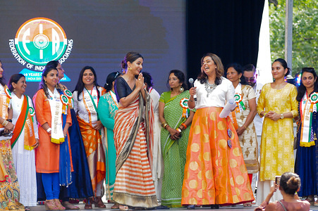 Actress Hina Khan attends the 39th Annual India Day Parade held at the Madison Avenue in New York City.