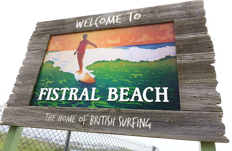 Sign of Fistral Beach, Newquay. UK's centre of Surfing is around the varied coastline and beaches of Cornwall in the very south west of the mainland. Surfers head there every summer and there are numerous, surf school, surf shops dotted around the popular Cornish towns.