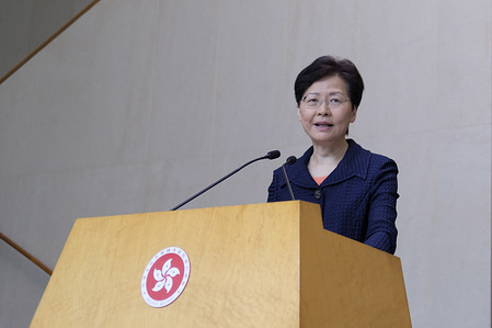 Hong Kong's Chief Executive Carrie Lam Cheng Yuet-ngor speaks during a Press conference after an estimated 1.7 million protesters took part in an unauthorised rally over the weekend. The political unrest in Hong Kong triggered by the extradition bill put forward by the government continues. Thousands of the Chinese People's liberation army are now stationed at the border with Hong Kong ready to be deployed to the special administrative region if the Hong Kong government request military assistance from Beijing.