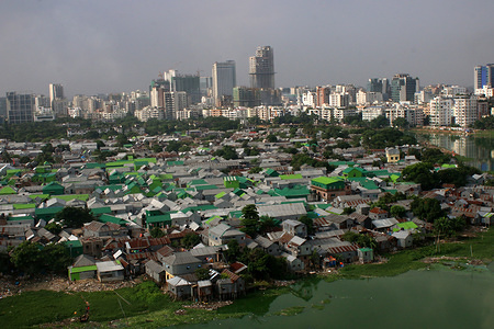 A top view of Korail Slum is located beside the Gulshan-Banani Lake in Dhaka. About 40,700 people lived in Korail slum, the biggest slum in Dhaka.
