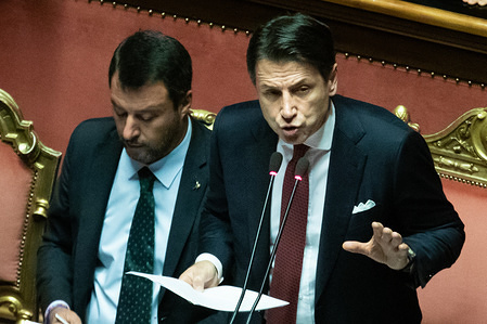 Prime Minister Giuseppe Conte announces his resignation while speaking at the Senate Assembly.