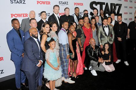 The cast pose for a photo during the Power Final Season Premiere held at Madison Square Garden in New York City.