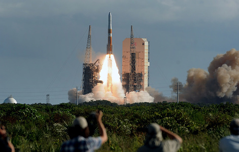 A United Launch Alliance Delta IV rocket in space at complex 37 in Cape Canaveral Air Force Station carrying the second GPS III Magellan spacecraft to a medium earth orbit for the U.S. Air Force.