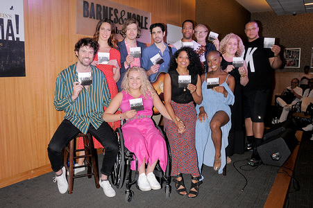 (Rear row L-R) Mallory Portnoy, Patrick Vaill, Damon Daunno, Anthony Cason, Mitch Tebo, Mary Testa, Will Mann, (Front row L-R) James Davis, Ali Stroker, Rebecca Naomi Jones and Gabrielle Hamilton attend the Rodgers & Hammerstein's Oklahoma! CD release celebration at Barnes & Noble 86th Street in New York City.
