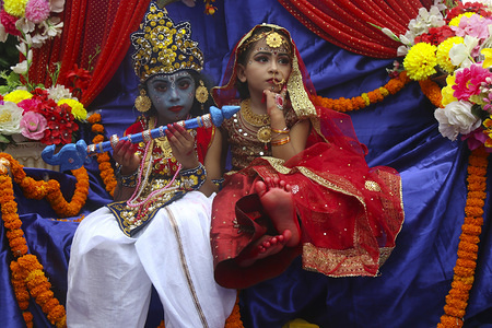 Bangladeshi Hindu children dressed like Lord Sri Krishna during the celebration. Janmasthami is celebrated yearly as an annual commemoration of the birth of the Hindu deity Krishna, the eighth avatar of Vishnu.