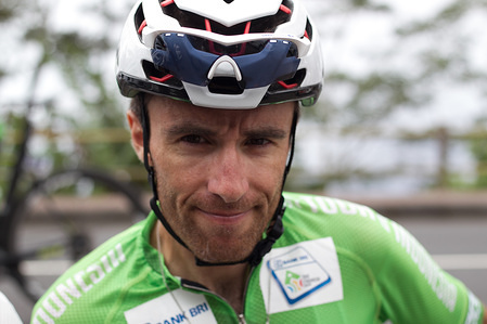 Rider of Kinan Cycling Team, Thomas Lebas (FRA) looks at the camera after winning the Tour d'Indonesia 2019. The beginning of the final stage of Tour de Indonesia 2019 started from Gilimanuk to Museum Geopark  Batur with a distance of 145.4km.