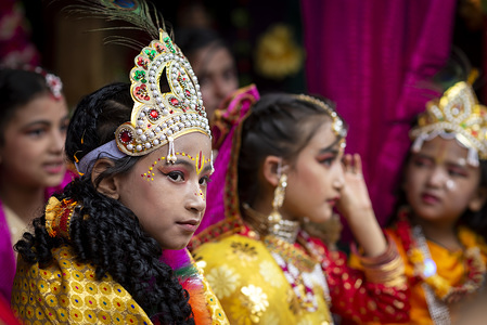 A kid dress as lord Krishna along with radha during the celebration. Krishna Janmasthami is an annual Hindu festival also known as Janmasthami, which is celebrated to mark the birth of lord Krishna, an eighth avatar of lord Vishnu.